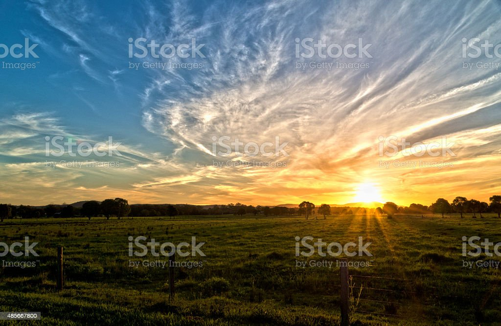 Sunset at Taree stock photo
