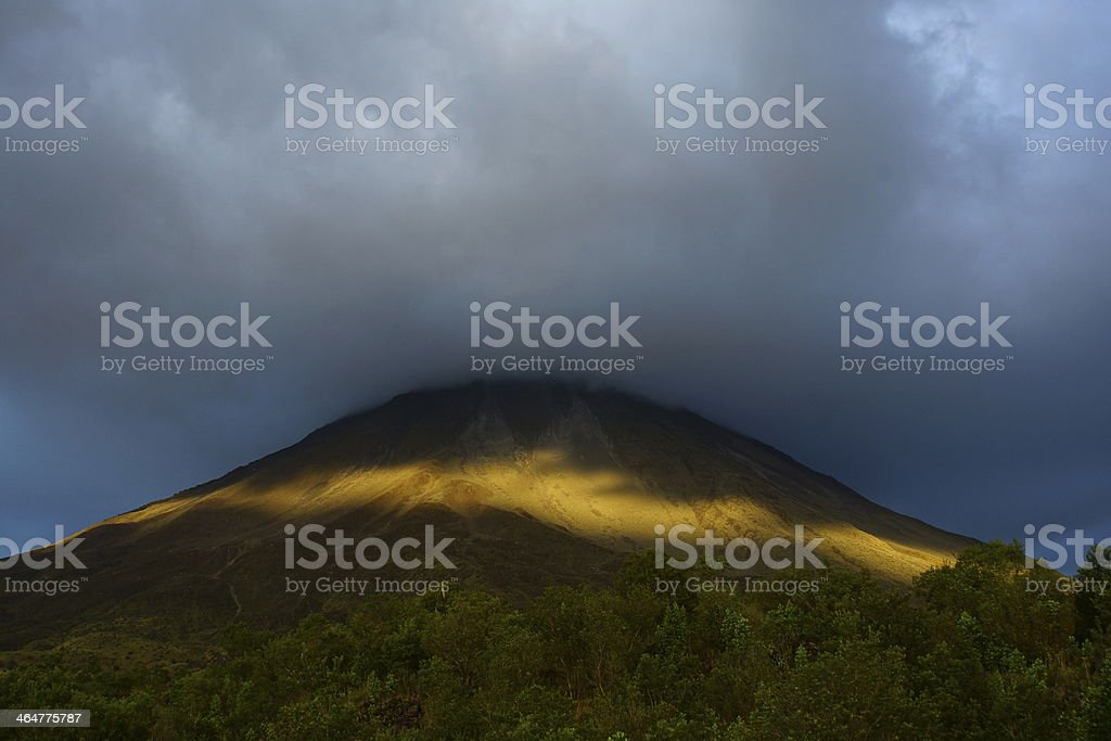 Sunset at the Arenal Volcano stock photo