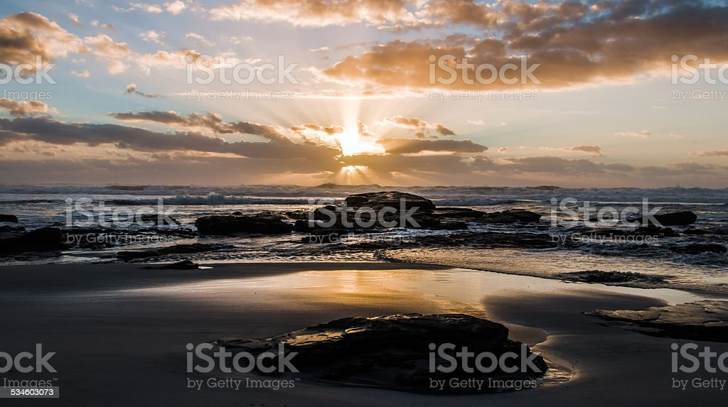 Sunset at the Atlantic Ocean stock photo