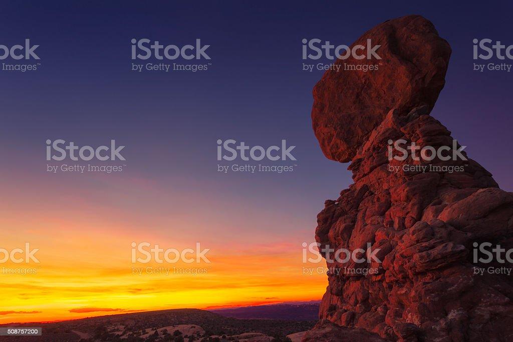 Sunset at the Balanced Rock stock photo