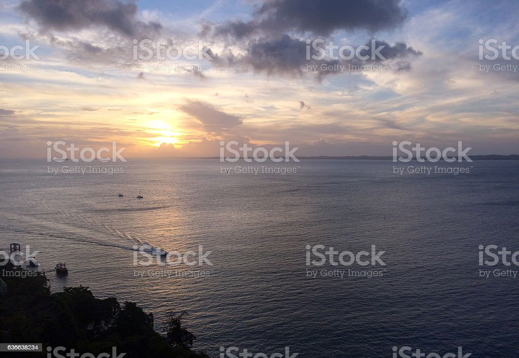 Sunset at the Bay of All Saints in Brazil stock photo