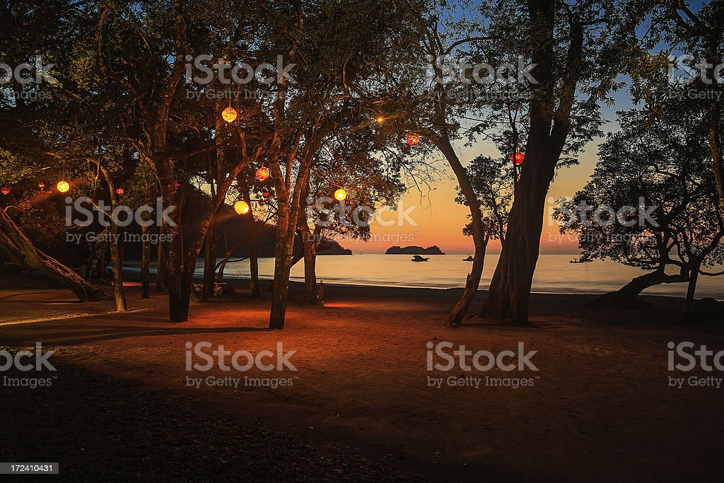 sunset at the beach in costa rica royalty-free stock photo