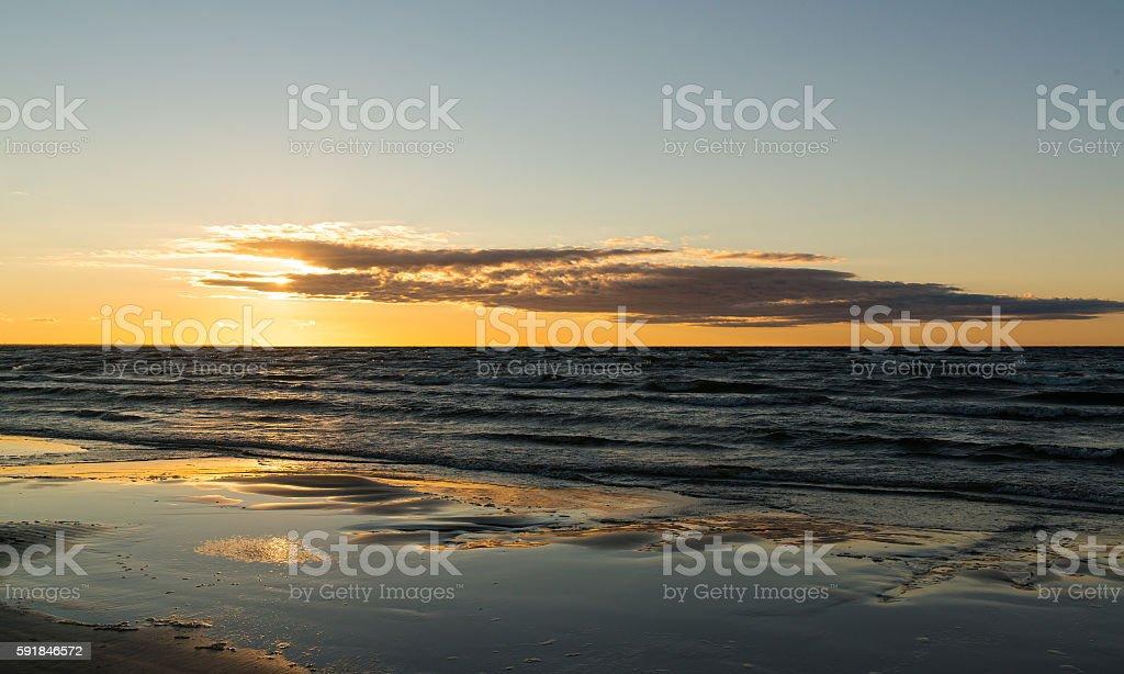 Sunset at the beach, Jurmala, Latvia, Baltic sea stock photo