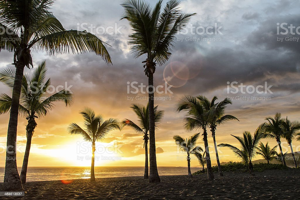 Sunset at the Beach, La Reunion stock photo