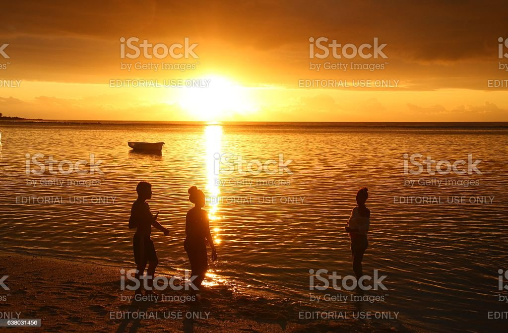 Sunset at the Beach of Albion, Mauritius, Indian Ocean, Africa stock photo
