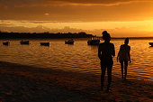Sunset at the Beach of Albion, Mauritius, Indian Ocean, Africa