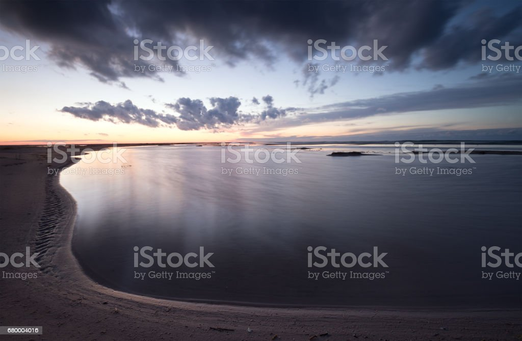 Sunset at the beach of the baltic sea stock photo