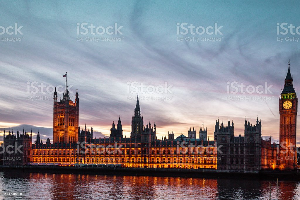 Sunset at the Big Ben in London, England stock photo