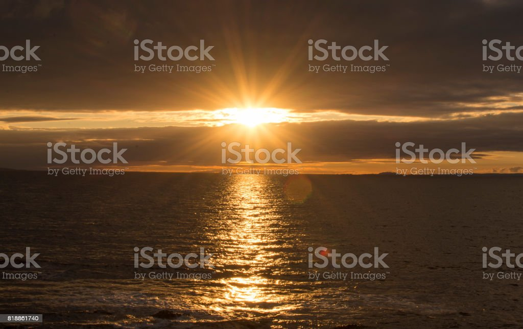 Sunset at the Bridge of Ross,County Clare, Ireland stock photo