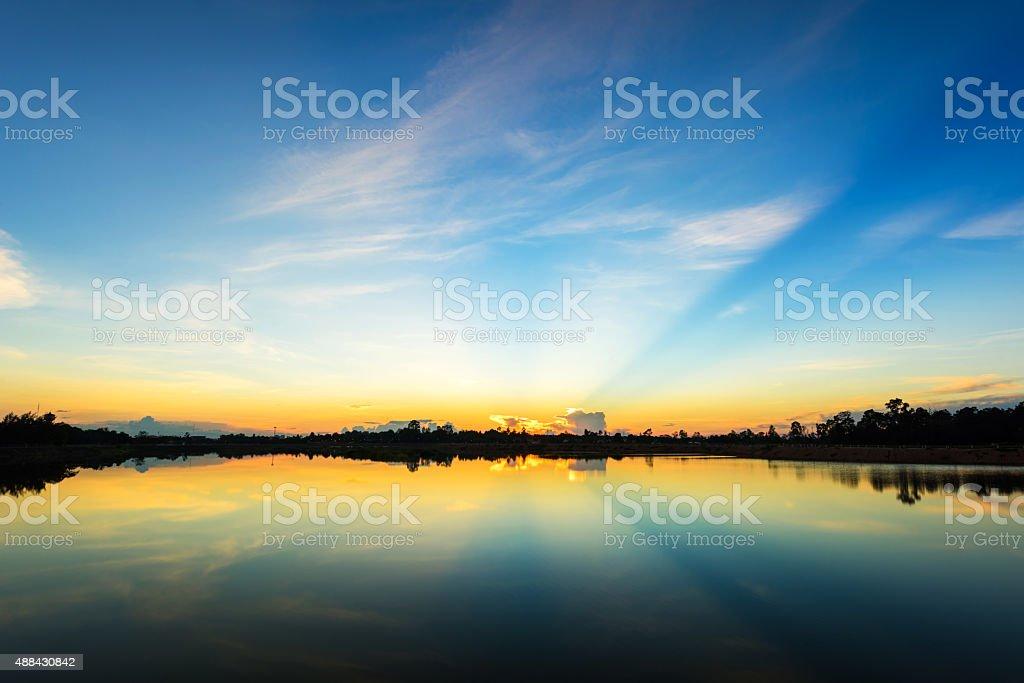 Sunset  at  the calm lake stock photo
