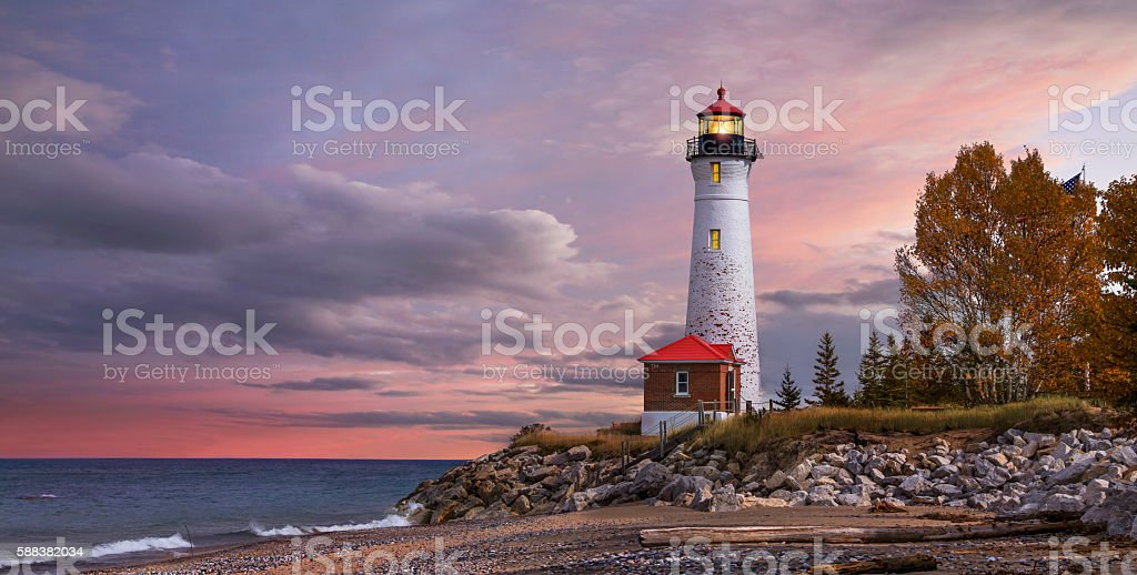 Sunset at the Crisp Point Lighthouse stock photo