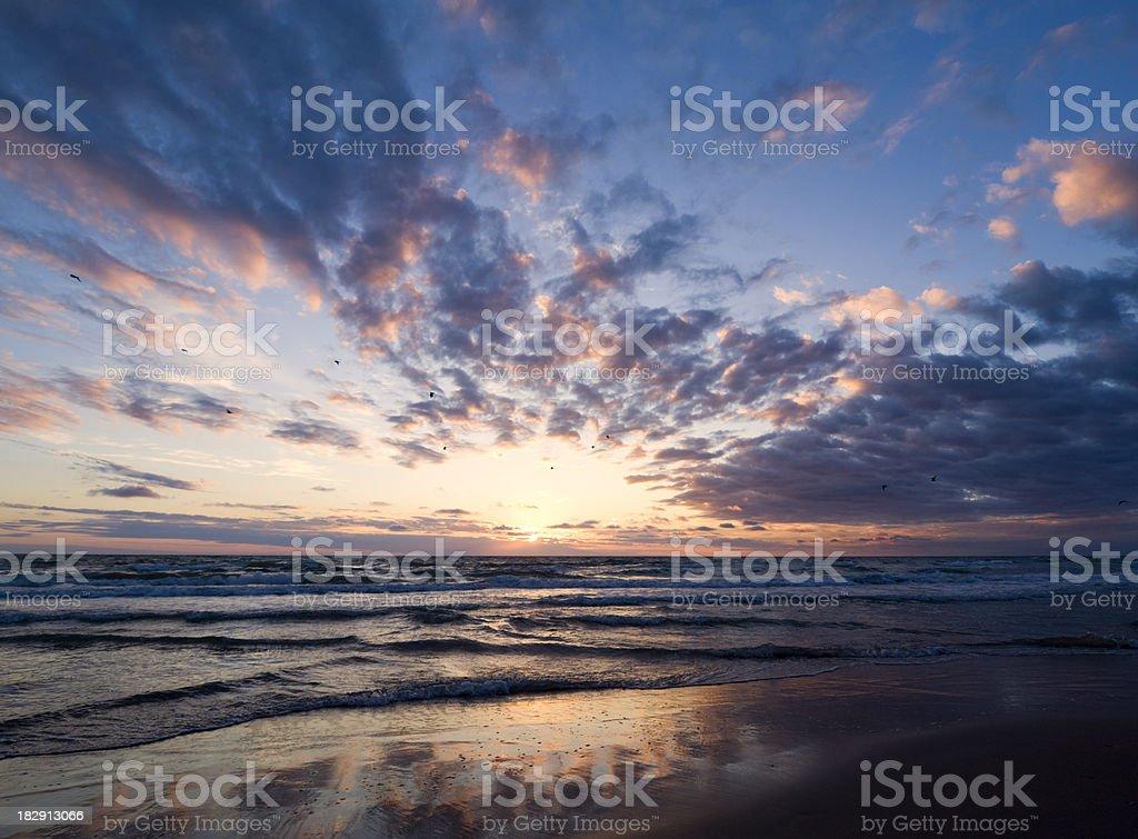 Sunset at the Danish west coast royalty-free stock photo