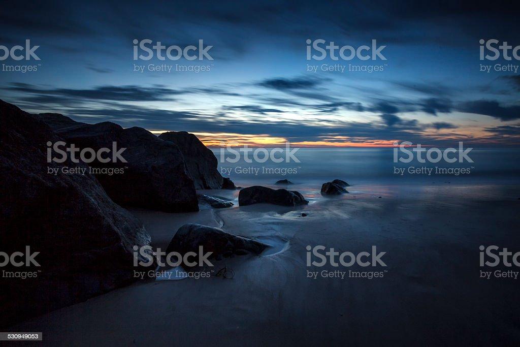 Sunset at the Danish west coast stock photo