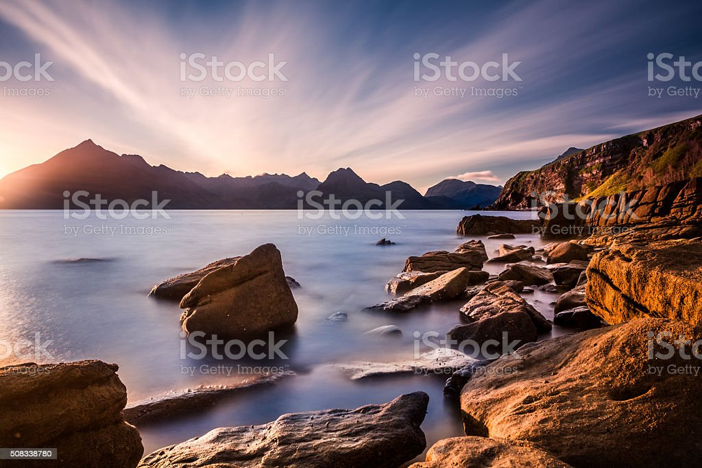 Sunset at the Elgol beach stock photo