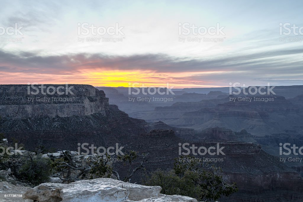 Sunset at the Grand Canyon stock photo