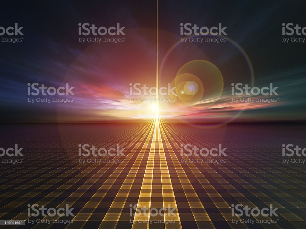 Sunset at the horizon with geometric pattern in foreground vector art illustration