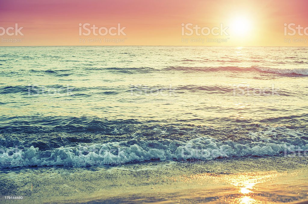 sunset at the horizont on sea royalty-free stock photo