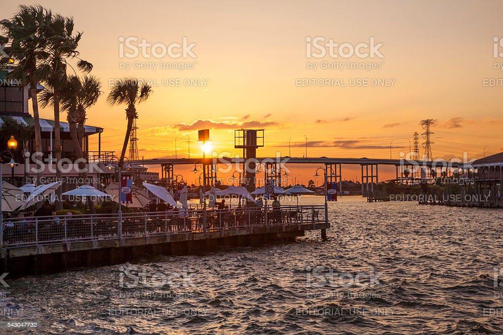 Sunset at the Kemah Boardwalk, Texas stock photo