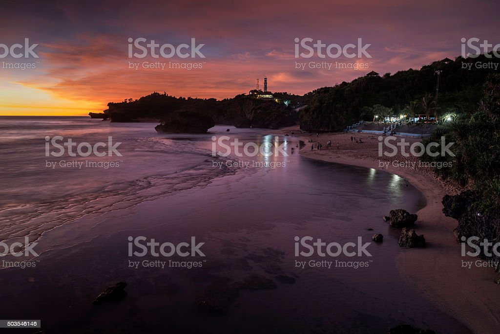 Sunset at the Kukup beach, Jogjakarta, Java,  Indonesia stock photo