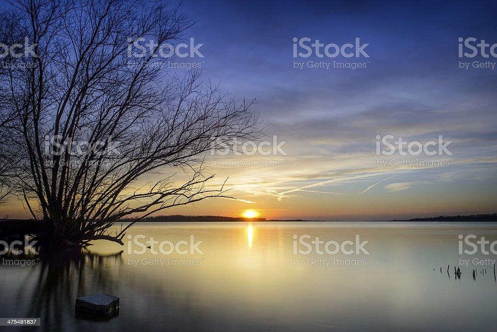 Sunset at the lake royalty-free stock photo