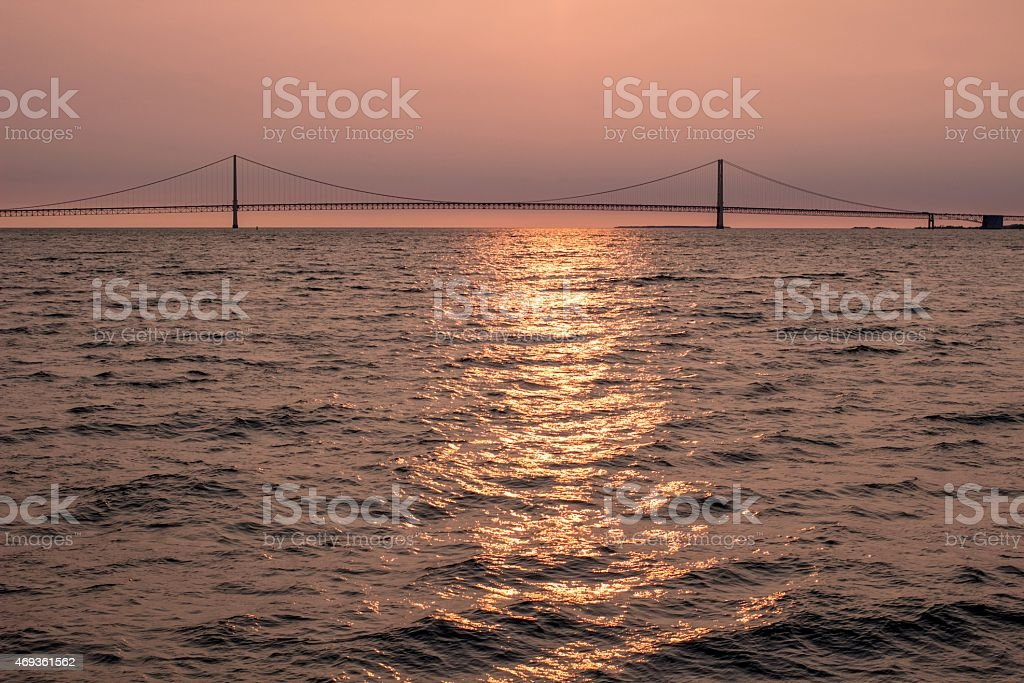 Sunset At The Mackinaw Bridge stock photo