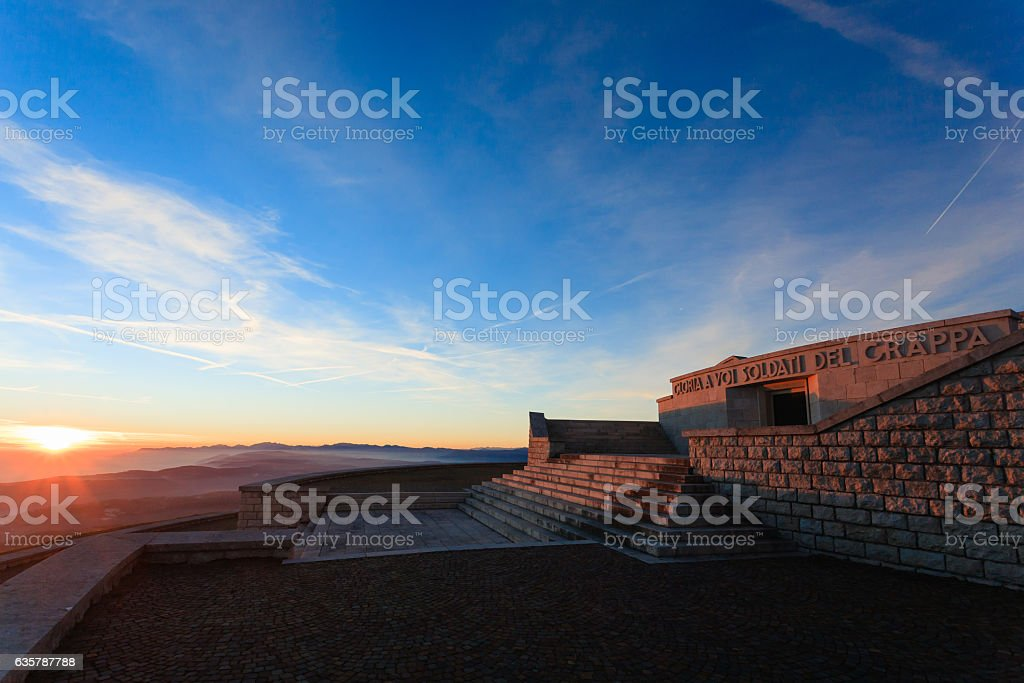 Sunset at the memorial stock photo