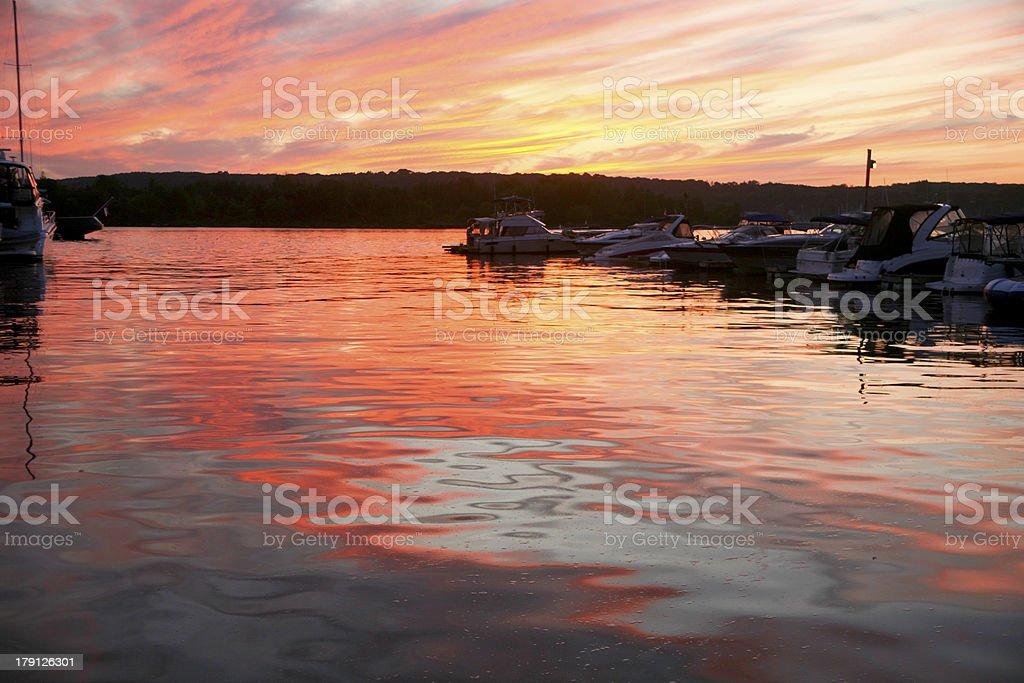 Sunset at the Midland Marina royalty-free stock photo