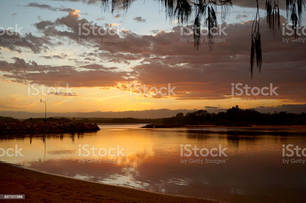 Sunset at the mouth of the Nambucca River stock photo