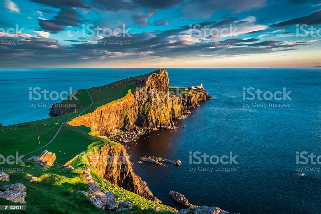 Sunset at the Neist point lighthouse, Scotland stock photo