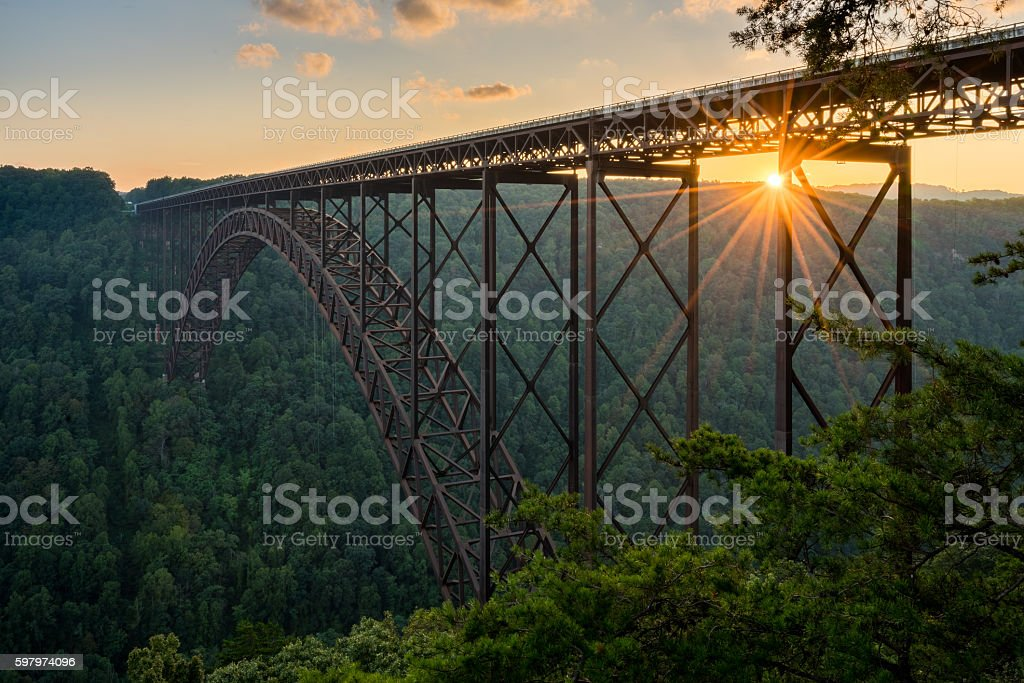 Sunset at the New River Gorge Bridge in West Virginia stock photo
