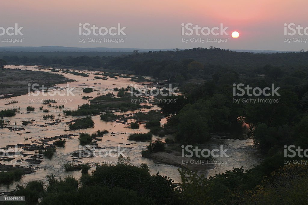 sunset at the olifants river stock photo