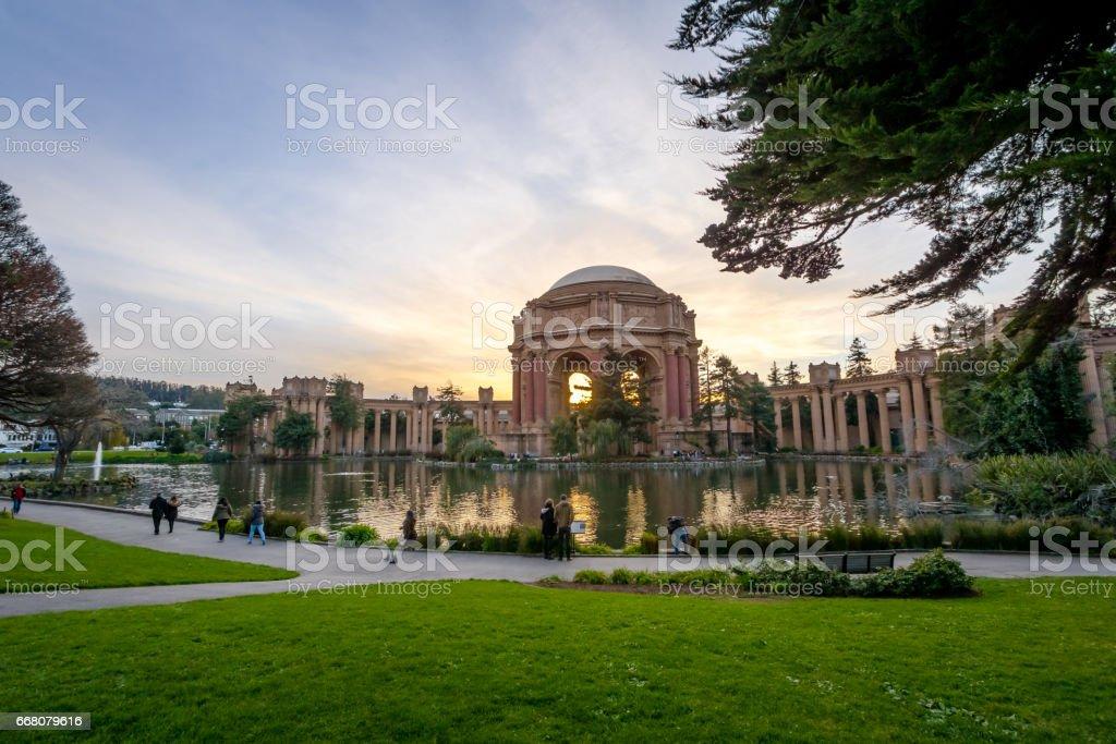 Sunset at the Palace of Fine Arts - San Francisco, California, USA stock photo