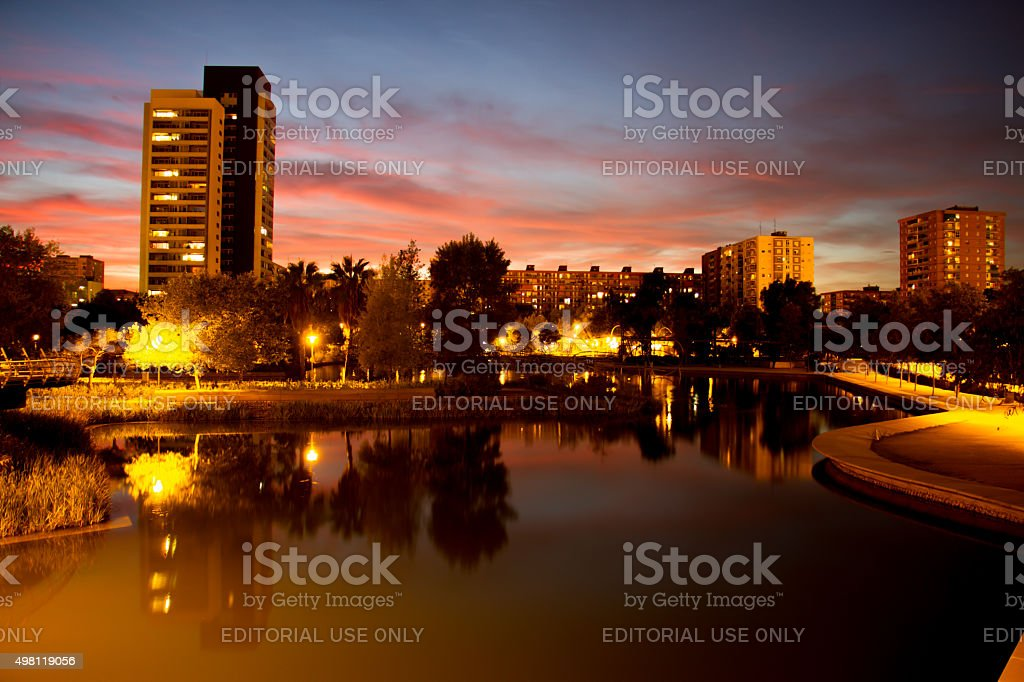 Sunset at  the park Diagonal Mar of Barcelona. stock photo