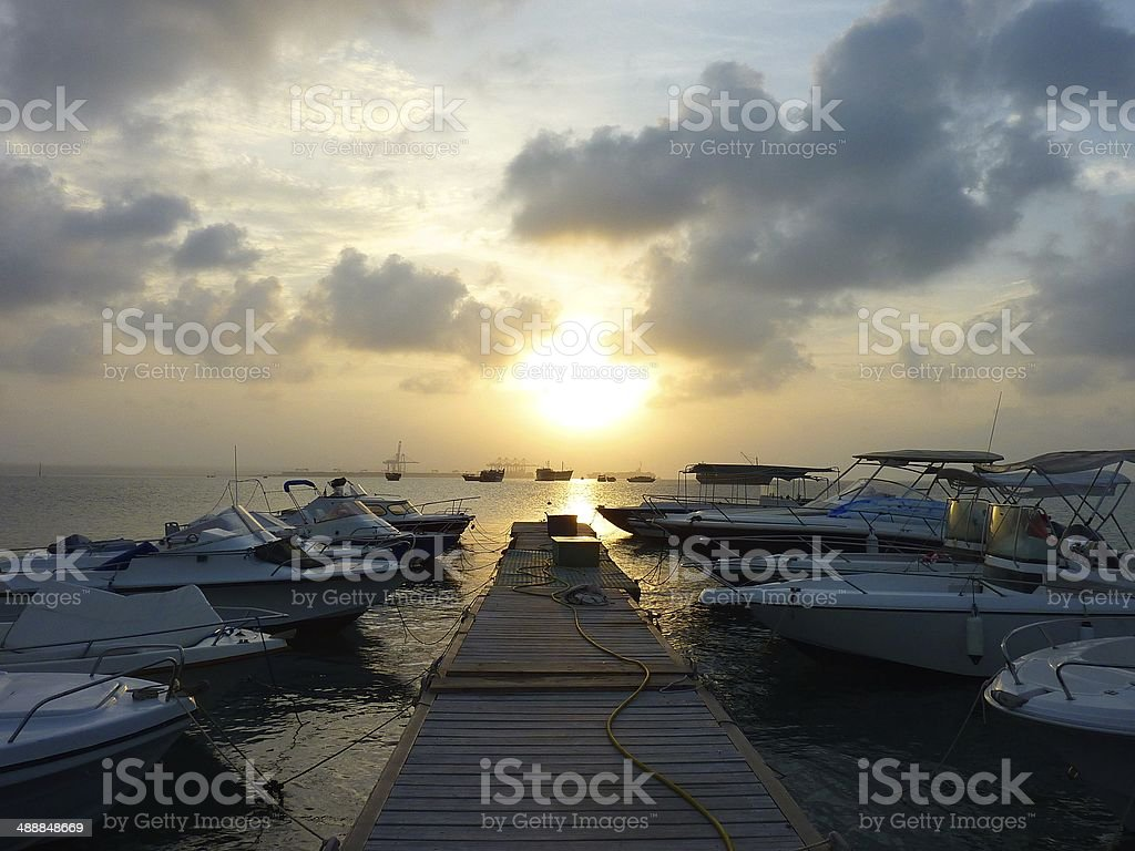 Sunset at the port of Djibouti royalty-free stock photo
