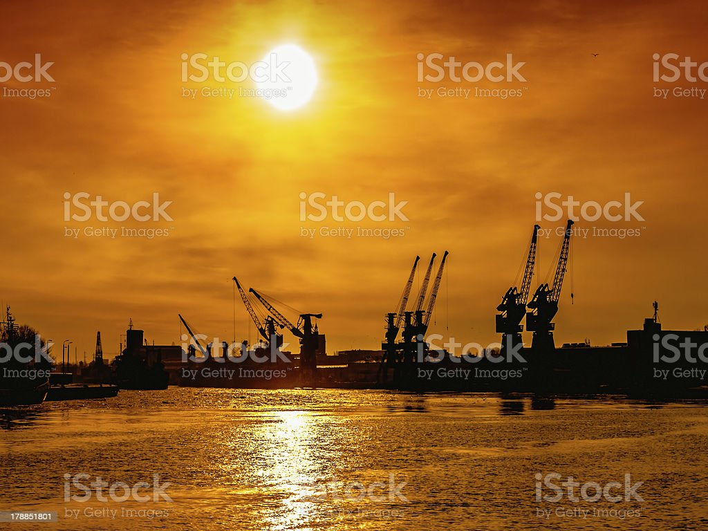 Sunset at the port royalty-free stock photo