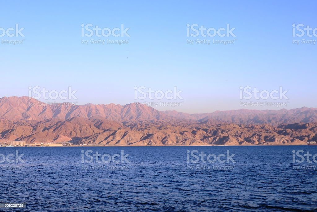 sunset at the Red Sea, Eilat, Israel stock photo