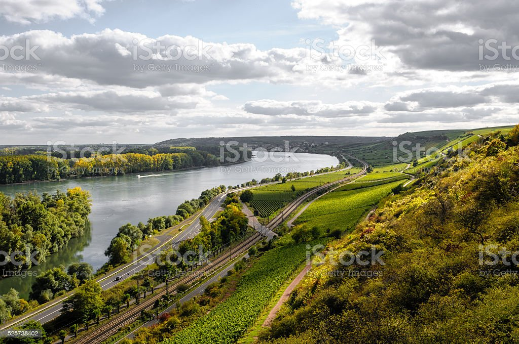 Sunset at the Rhine in Germany stock photo