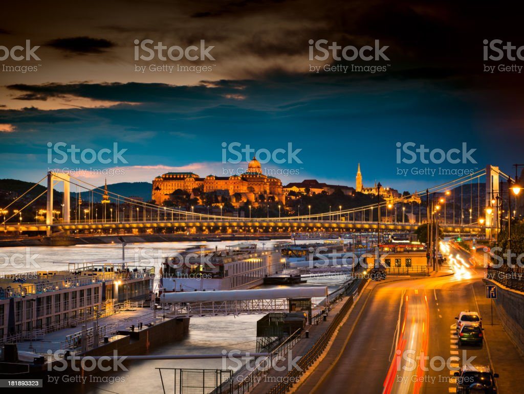 Sunset at the riverside of Danube stock photo