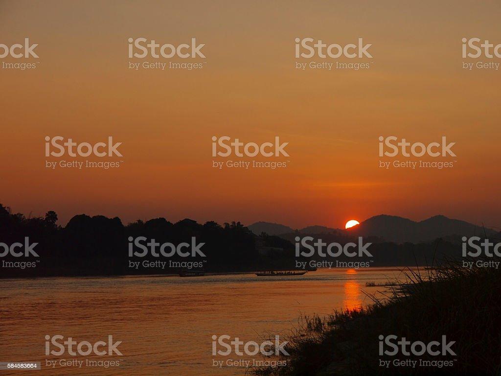 sunset at the sand bar stock photo