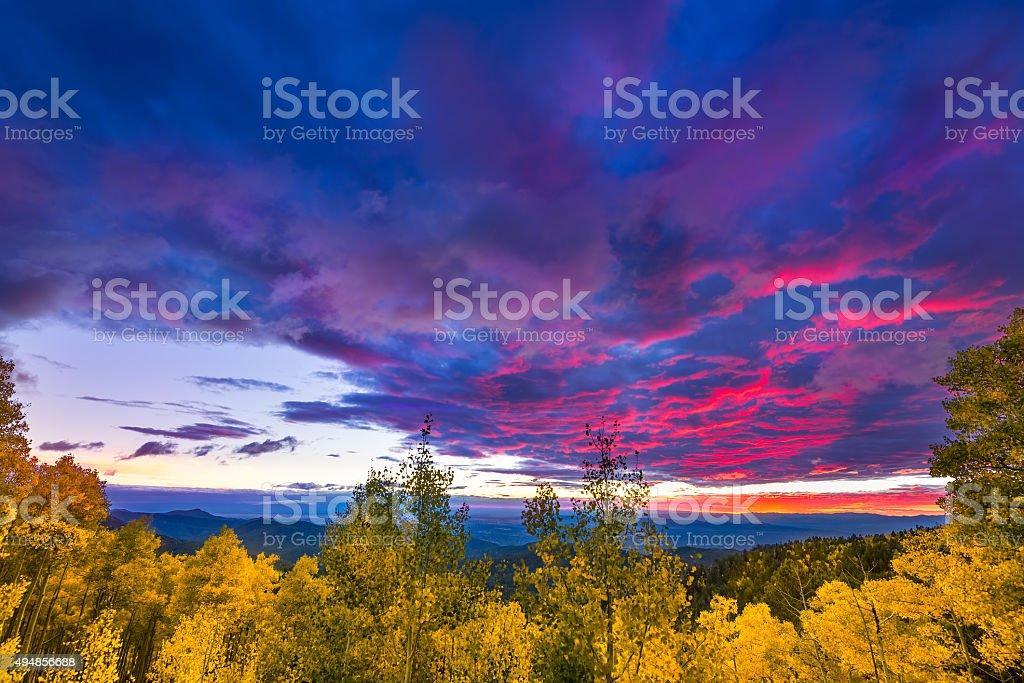 Sunset at the Santa Fe Ski Basin stock photo