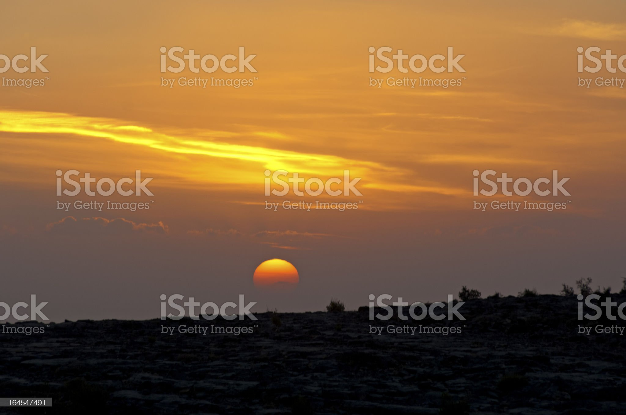 Sunset at the Sayq plateau royalty-free stock photo