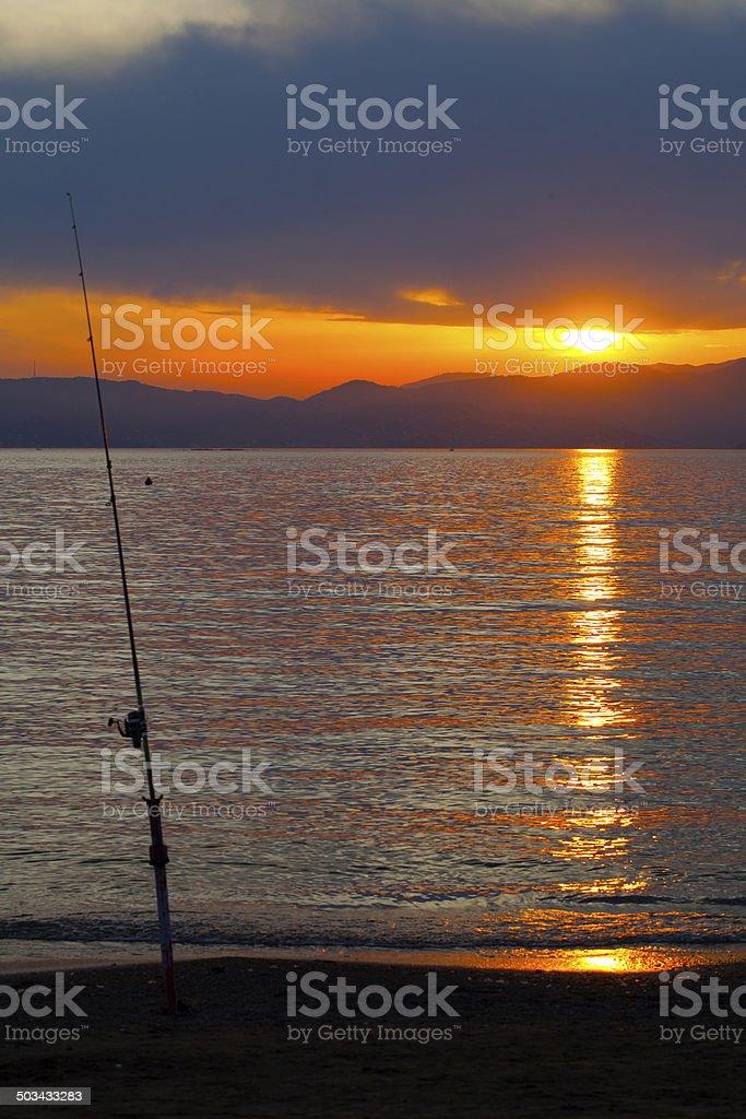 Sunset at the sea coast stock photo