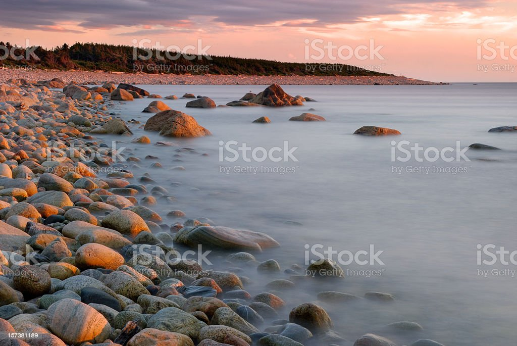Sunset at the shore stock photo