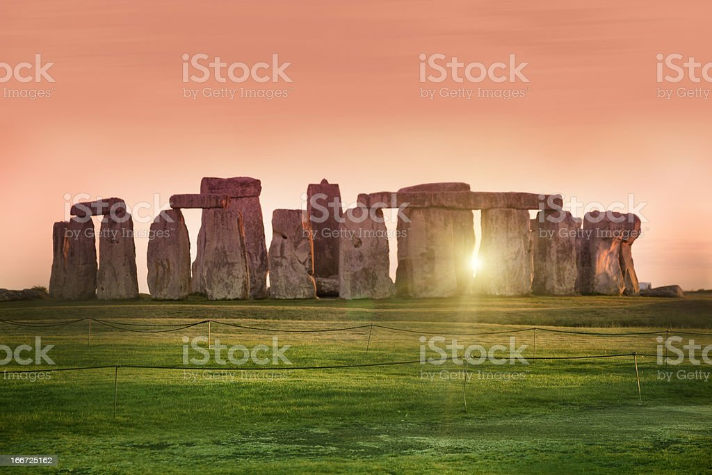 Sunset at the Stonehenge, United Kingdom stock photo