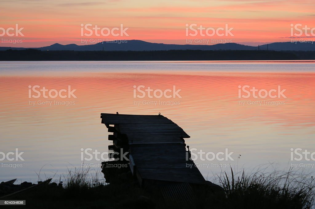 Sunset at the swedish lake Siljan stock photo