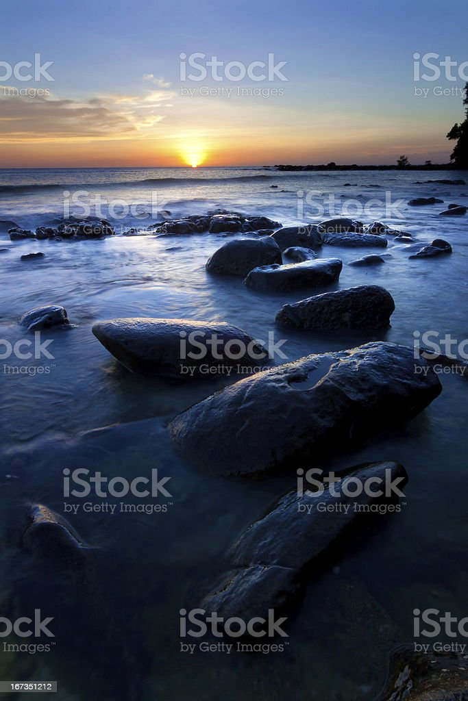 Sunset at the Tip of Borneo, Sabah, Malaysia royalty-free stock photo