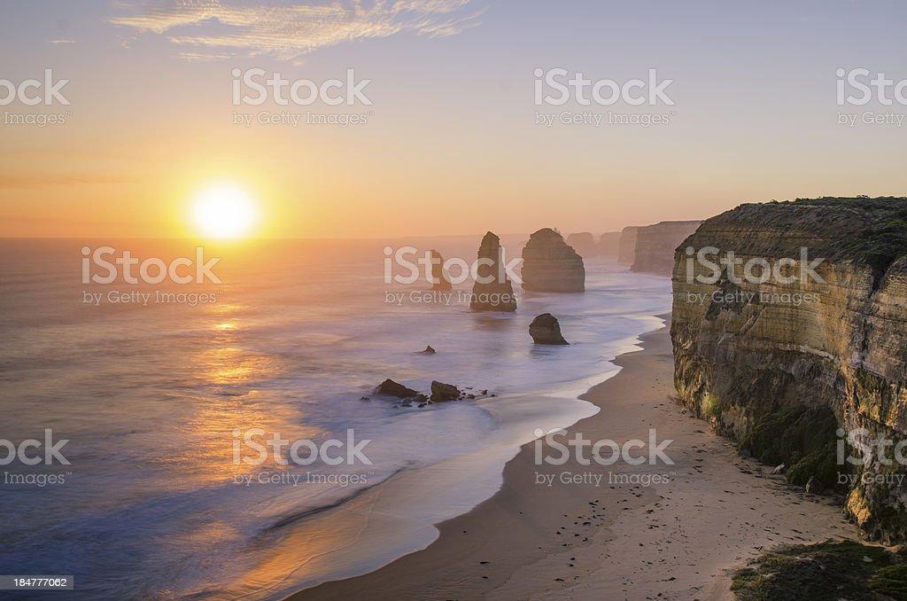 Sunset at The Twelve Apostles, Victoria, Australia stock photo