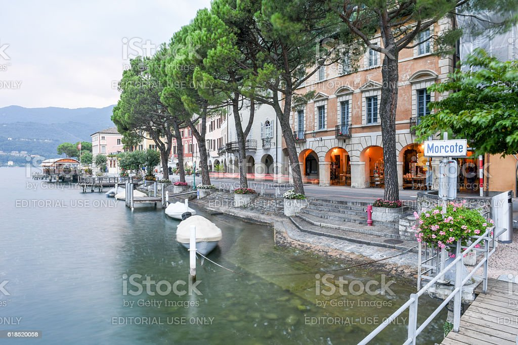 Sunset at the village of Morcote on lake Lugano stock photo