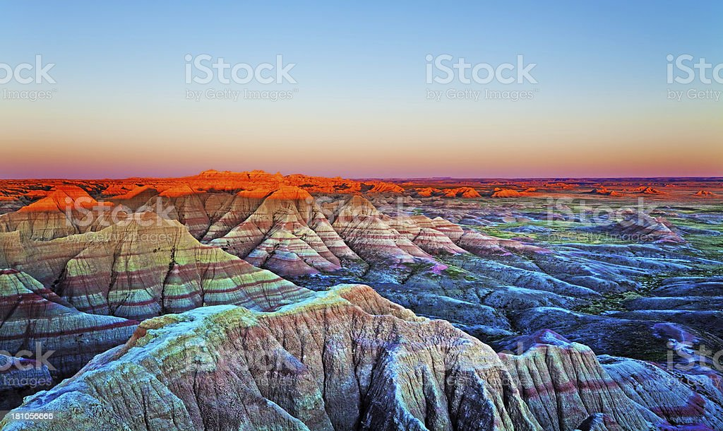 Sunset at The Wall, Badlands National Park, South Dakota. stock photo