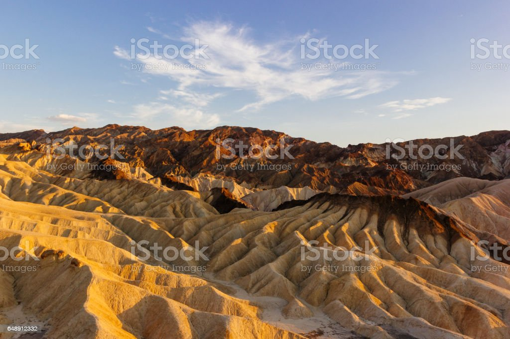 Sunset at the Zabriskie Point, Death Valley National Park - California stock photo